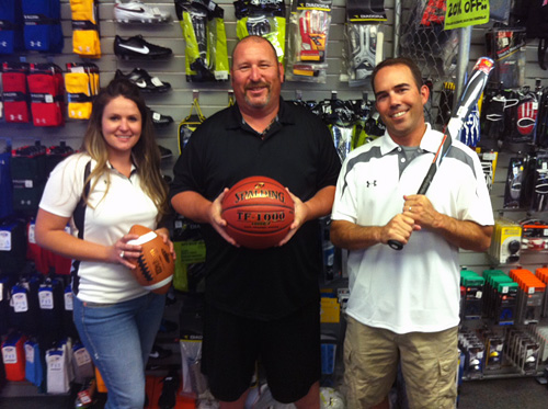 Your Sporting Goods Team: Arielle Dickens, Erik Johnson, and John Kennedy